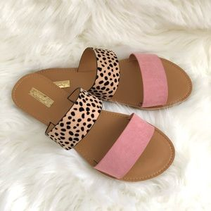 Rose/Leopard Double Band Sandals